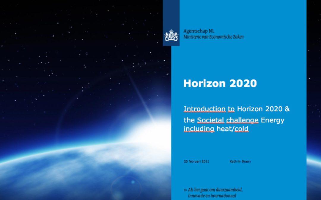 Horizon2020, SDE+ 2014 en Energiefondsen